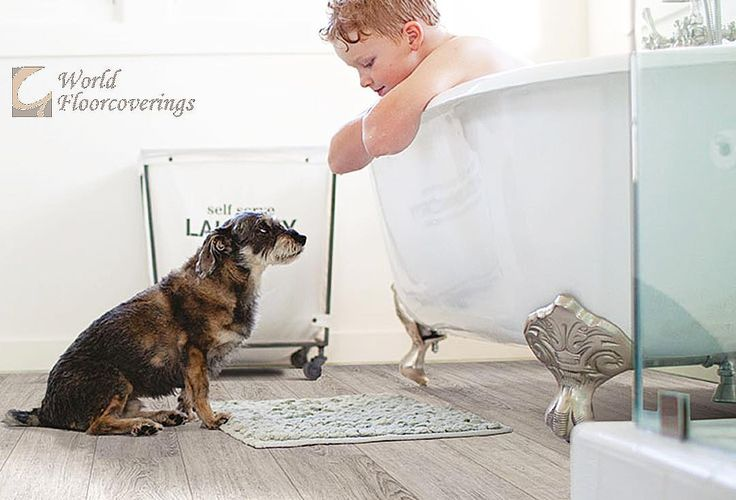 It doesn't get much cuter than this! Perfect for the bathroom, this engineered luxury vinyl is 100% waterproof and pet-friendly! Happy Friday! Wishing everyone a great weekend! [Featured: Engineered Luxury Vinyl x Beaulieu Flooring]