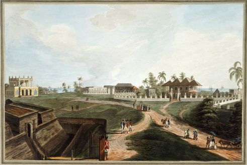 Fort Marlborough, Bengkulu, showing the Government House and Council House. Coloured aquatint with etching; drawn by Andrews, ca.1794-98; engraved by Joseph Stadler; published by William Marsden, 1799. British Library, P 329.
