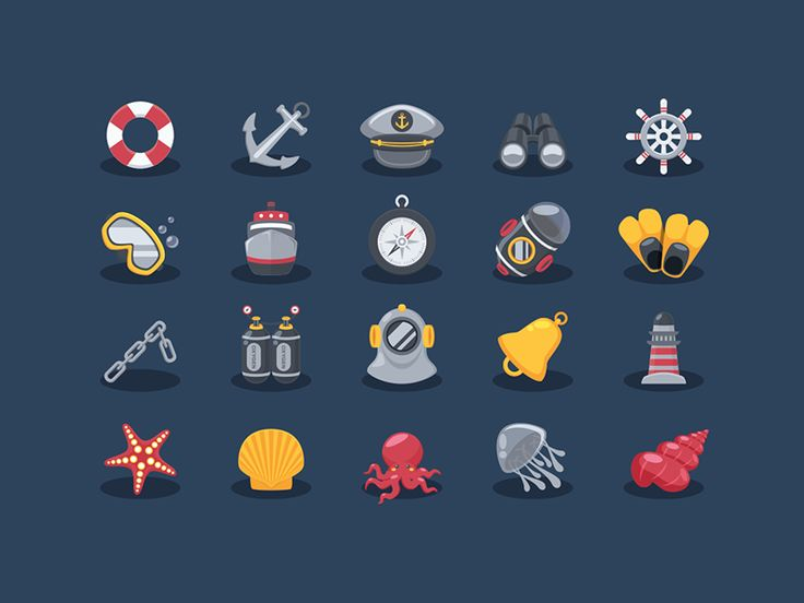 Sea Elements Icons by Sunbzy