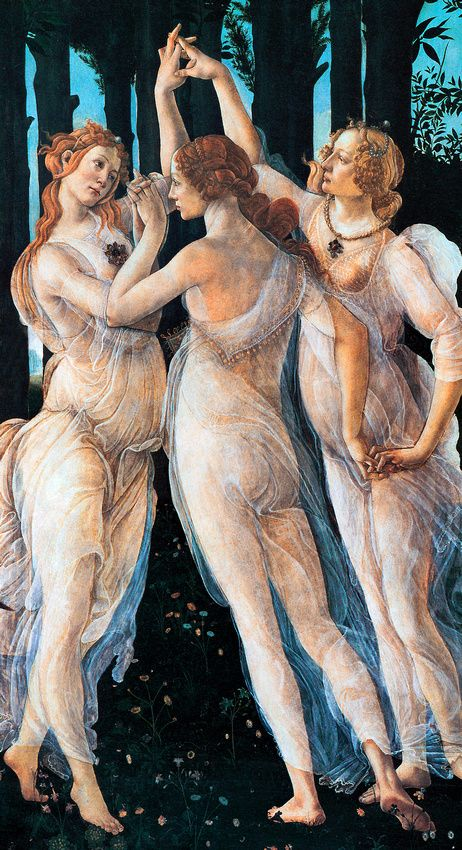 Three Graces, Sandro Botticelli /// I should totally do the version of this with pen Moira and noey like in the book