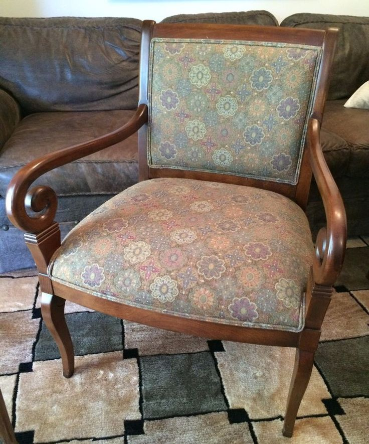 Ethan Allen French Style Upholstered Arm Lounge Living