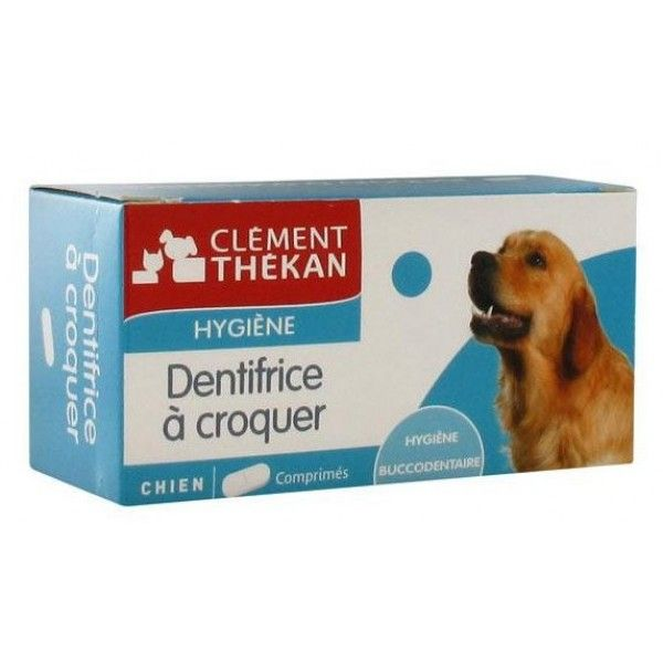 Le dentifrice à croquer de Clement-Thekan est composé de comprimés sécables. Véritable dentifrice antibactérien au fluor, il permet de limiter la formation de la plaque dentaire et du tartre. Excipient appétent aux propriétés abrasives, il plaît au chien et est facile à donner.#santediscount #animaux #clementthekan #dentifrice #chien
