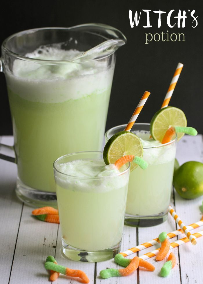 Witch's Potion Drink recipe - a chilled Lime and Pineapple mixture that is bubble and perfect for your next Halloween party!