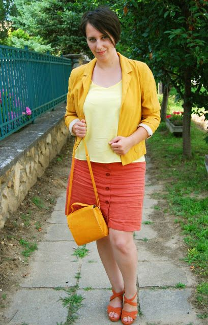 VGRV blog, mustard blazer, brick skirt, brick sandals, mustard bag, yellow top, button down skirt