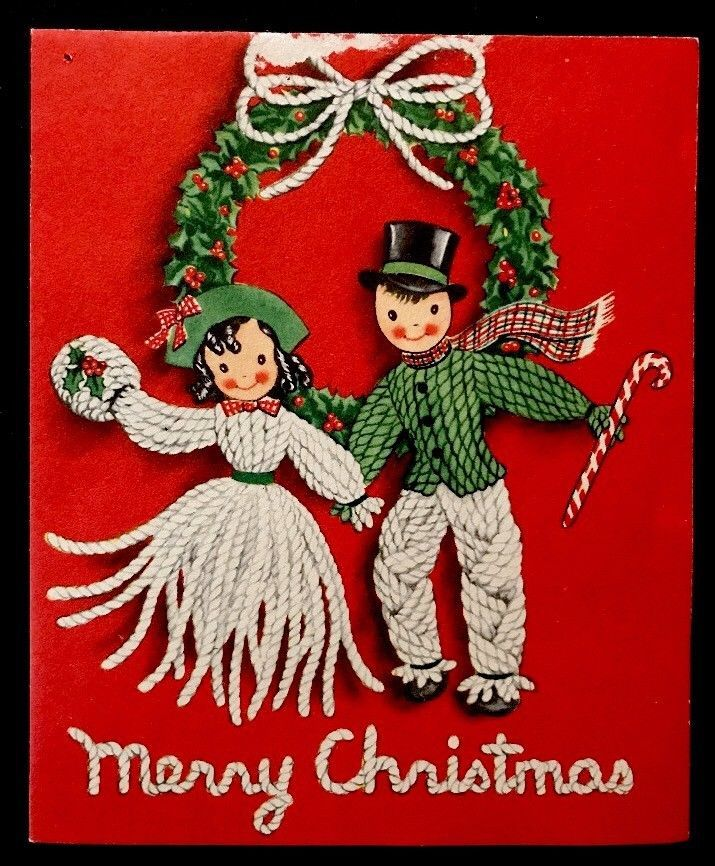 "50s Yarn Doll Family Husband & Wife ""Two For the Season"" Vintage Christmas Card"