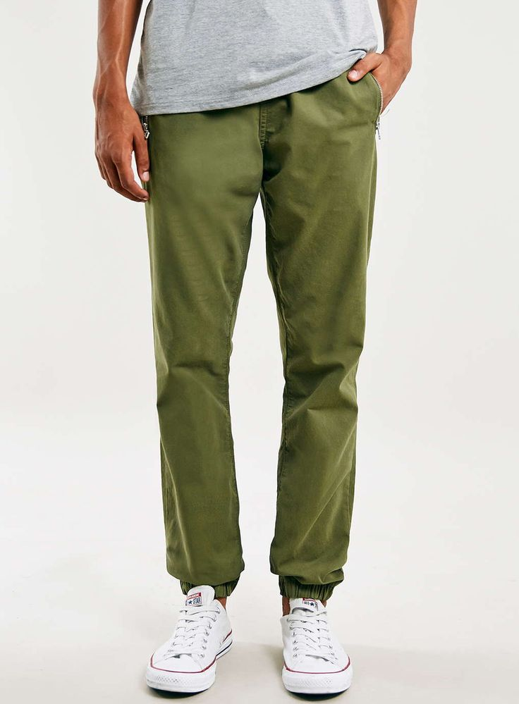 Khaki Zip Woven Joggers $60