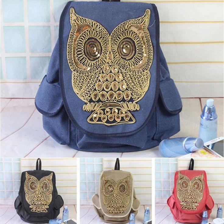 Women s Canvas Sequins Owls Cute School Satchel Rucksack Backpack Campus Bag