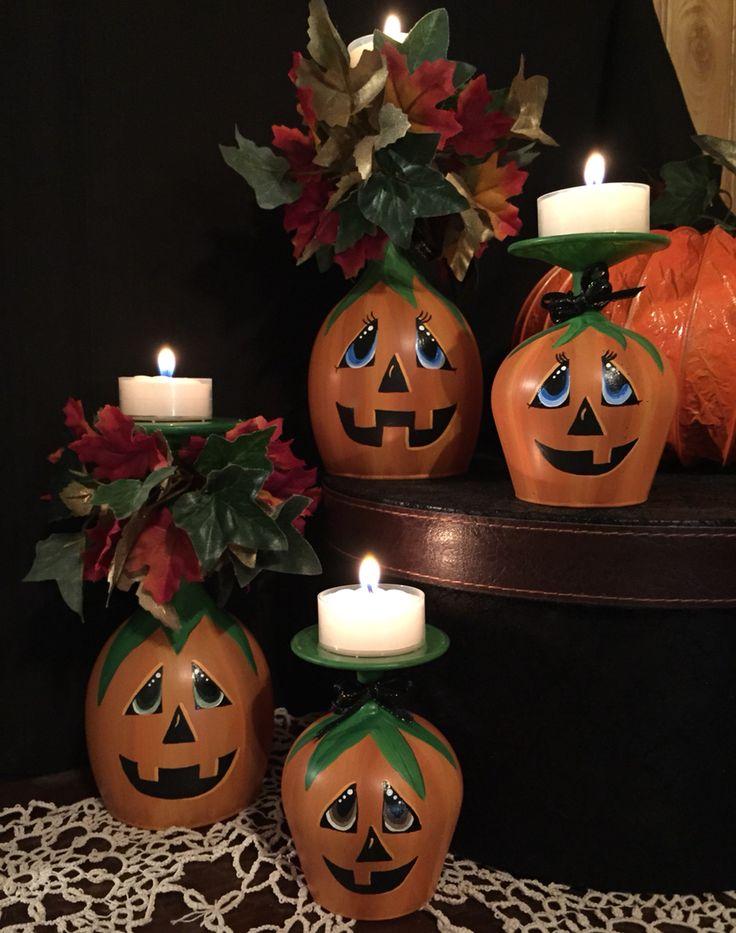 Pumpkin wine glasses hand painted