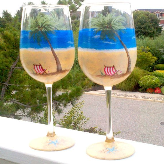 Beach scene hand painted wine glasses by GlassesbyJoAnne on Etsy, $60.00
