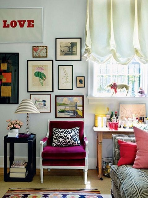 Purple chair. Patterned couch. Wood. Lacquer. Painted wood. Brass. Gallery wall. Collectibles. It all makes me happy. I could have white walls if they were in this room.