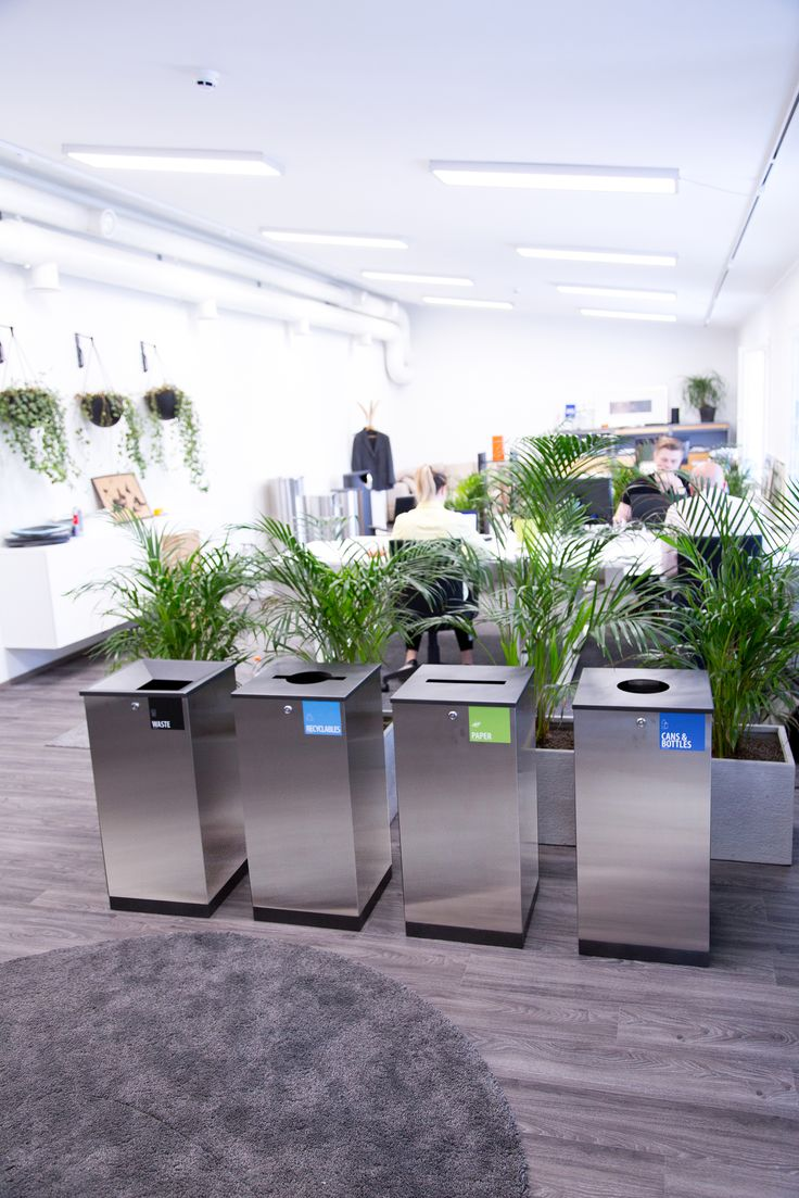 Edge recycling bins in office environment. Check out more www.finbin.fi #recycling  #wastebin #officefurniture #urbanfurniture #streetfurniture #recyclingbins