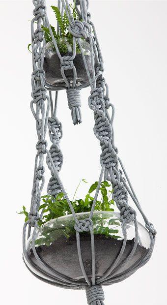 Deux plantes en macramé accroché niveau de détails.