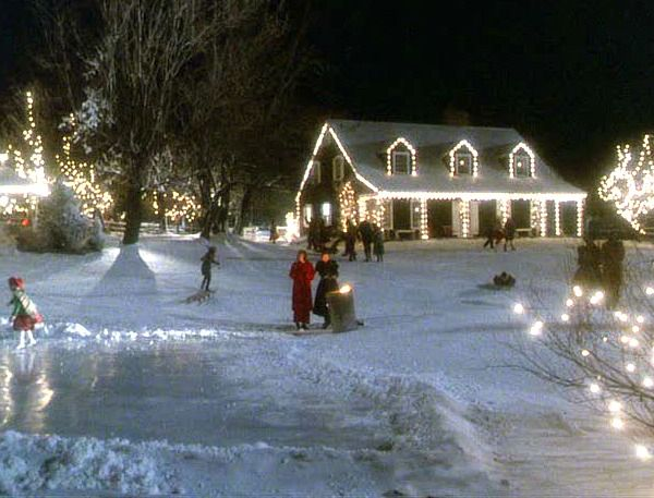 Funny Farm movie house carolers at Christmas