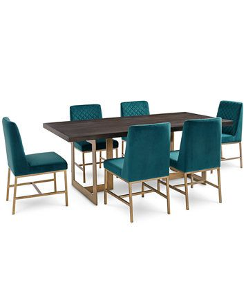 Image 1 of Cambridge Dining Furniture, 7-Pc. Set (Dining Table & 6 Teal Side Chairs), Created for Macy's