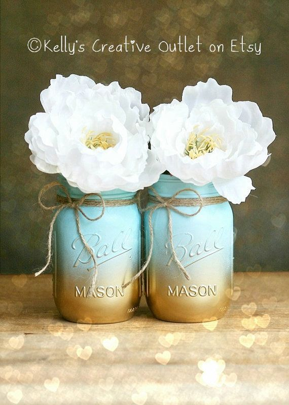 awesome Painted Mason Jar - Vase - Home Decor - Wedding Centerpiece - Baby Shower - Mason Jar Decor - Blue Ombre - Shabby Chic by http://www.best99-home-decor-pics.club/homemade-home-decor/painted-mason-jar-vase-home-decor-wedding-centerpiece-baby-shower-mason-jar-decor-blue-ombre-shabby-chic/