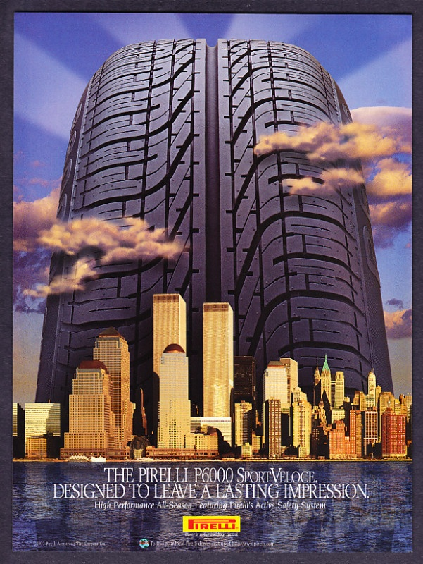 1997 World Trade Center photo Pirelli Tires promotional print ad