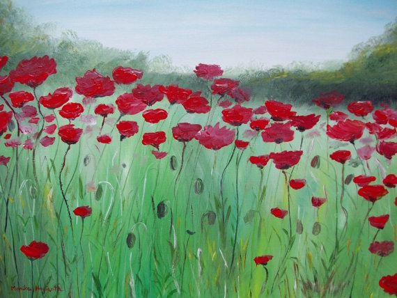 Poppy flowers original acrylic painting by Monikahgallery on Etsy, £64.00