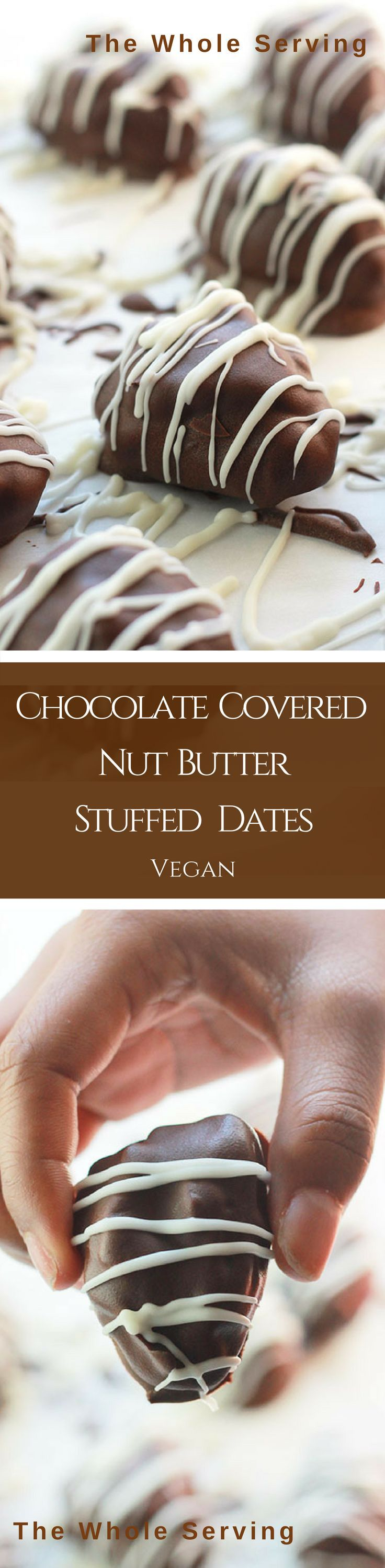 Chocolate Covered Nut Butter Stuffed Dates - Dates stuffed with nut butter, dipped in chocolate and drizzled with smooth, creamy vegan white chocolate. Pure Deliciousiness.