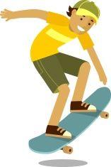 Skateboarder boy jumping on skateboard in flat style vector art illustration