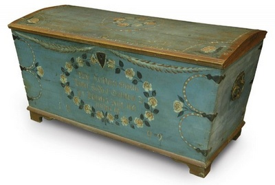 Swedish wedding chest 1809. I wonder if an appreciation for a particular style can be carried genetically? My genes cry out for Swedish style and love both my Swedish landscape and my Scottish one....