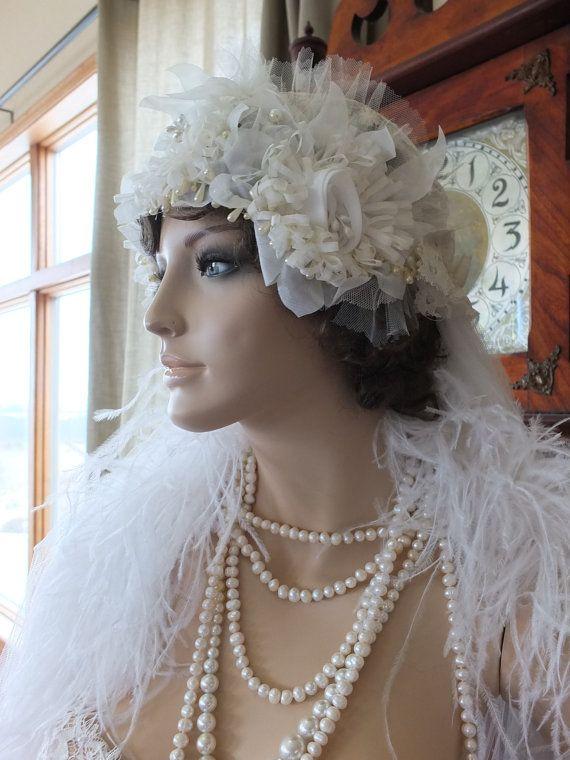 Wedding headpeice flapper 1920s bridal by RetroVintageWeddings