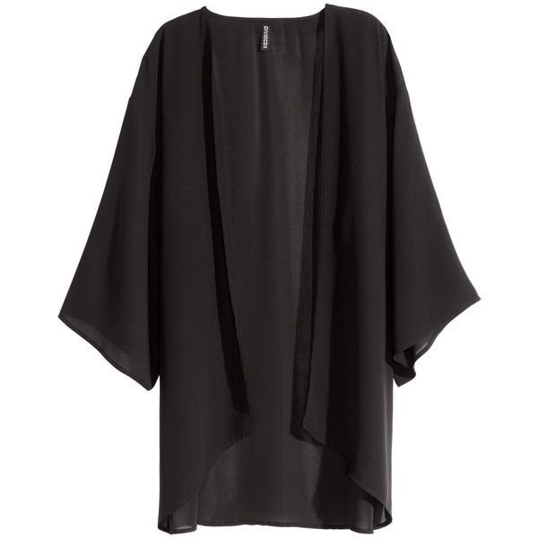 H&M Kimono ($8.51) ❤ liked on Polyvore featuring outerwear, jackets, kimono, cardigans, black, kimono jacket, 3/4 sleeve jacket and h&m jackets