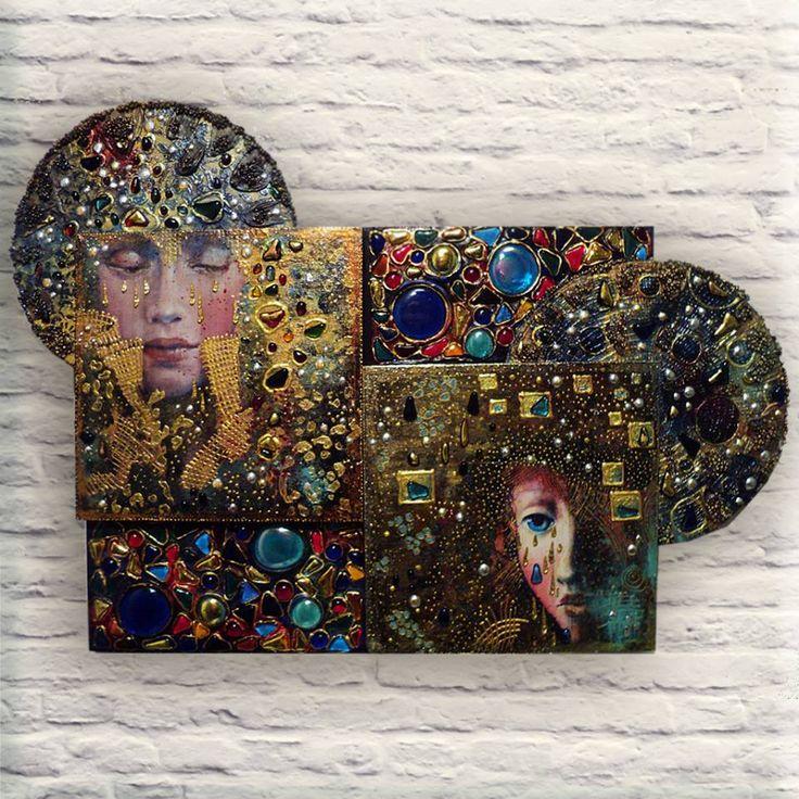 """Декоративное панно """"Сны....."""" по мотивам работ Angela Betta Casale... (декупаж)…"""