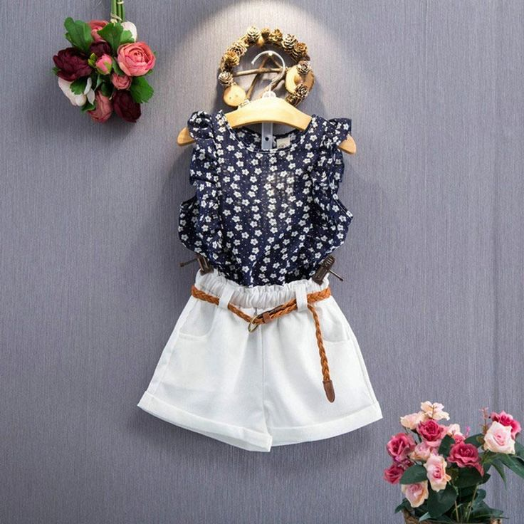 Outfits Girl Summer Toddler Kids Baby Girls Clothes Floral T-shirt Tops+Short Pants Outfits fun #Affiliate