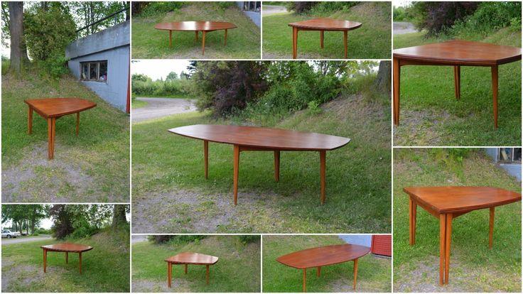 (9) FINN – Rastad & Relling Captains Folding Dining Table Model 2076 Teak Design Klaffebord