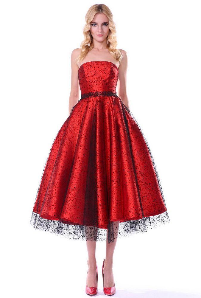 Платье в стиле 50-х Новый год 2017. Красный шик!