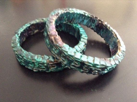 Teal and Black Metallic Jigsaw Puzzle Bracelets by SJPuzzles, $15.00