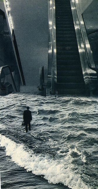 ♂ Dream imagination surrealism surreal art Man, Escalator and water