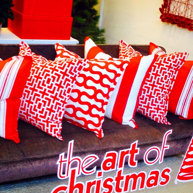 Window Display of my cushion ranges available at The Art of Christmas Decor pop up shops , Willow Bridge Shopping Centre and Cavendish Square in Cape Town, 2014...