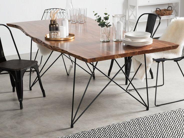 Dining Table 180 X 90 Cm Light Wood With Black Mumbai Dining Table Dining Table Lighting Metal Table