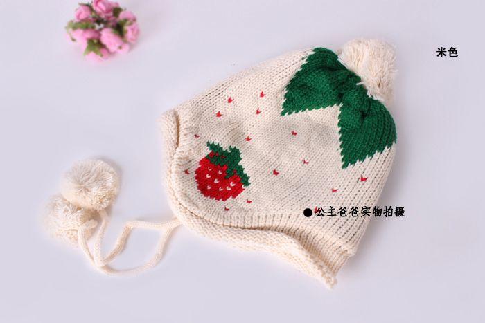 Корейские дети клубника шерсть шляпа ребенка шляпу связанный шлем корейских мальчиков и девочек зима шапочка уха шляпу - Taobao
