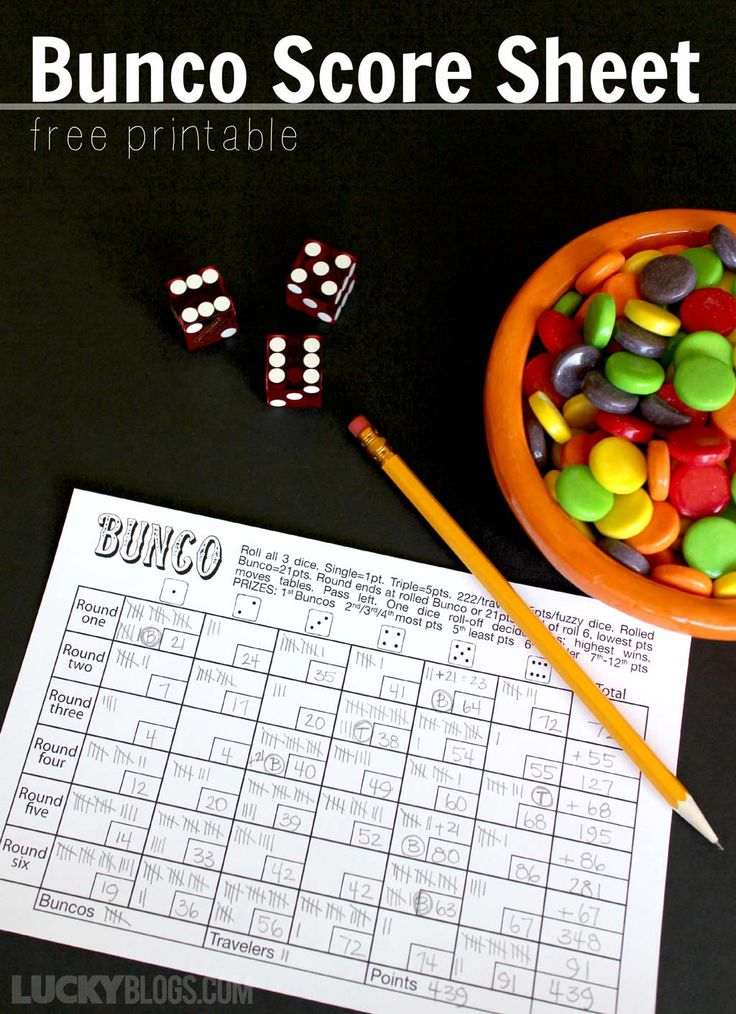 Bunco Score Sheet Free Printable Bunco score sheets
