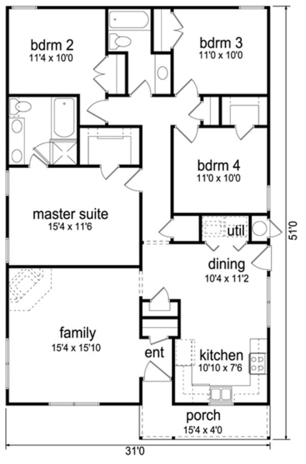 Cottage Style House Plan 4 Beds 2 Baths 1446 Sq Ft Plan 84 543 Diy Tiny House Plans 4 Bedroom House Plans My House Plans