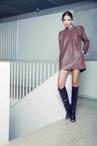 Andra Andreescu chocolate leather dress