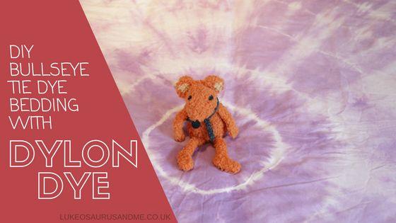 DIY Bullseye tie die bedding with dylon dye at http://lukeosaurusandme.co.uk