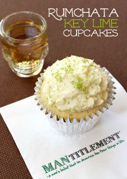 These cupcakes are sweet and dense, almost like a poundcake. They taste just like a mini key lime pie - with RumChata frosting! #cupcake #rumchata
