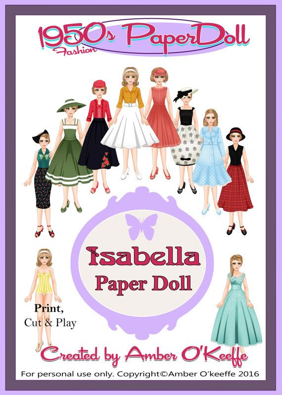 1950s Isabella Paper Doll Full Collection by OkeeArts on Etsy