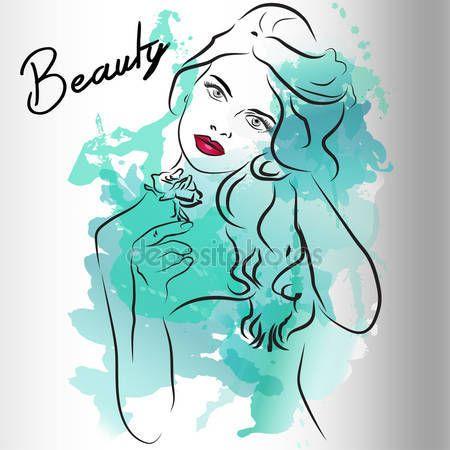 Letöltés - Szép lány arca hosszú kék hajjal. Akvarell illusztráció vektor. Meghívó, esküvői, születésnapi és üdvözlőlapok, szalonok, szépség és a divat-ipar design — Stock Illusztráció #80977960