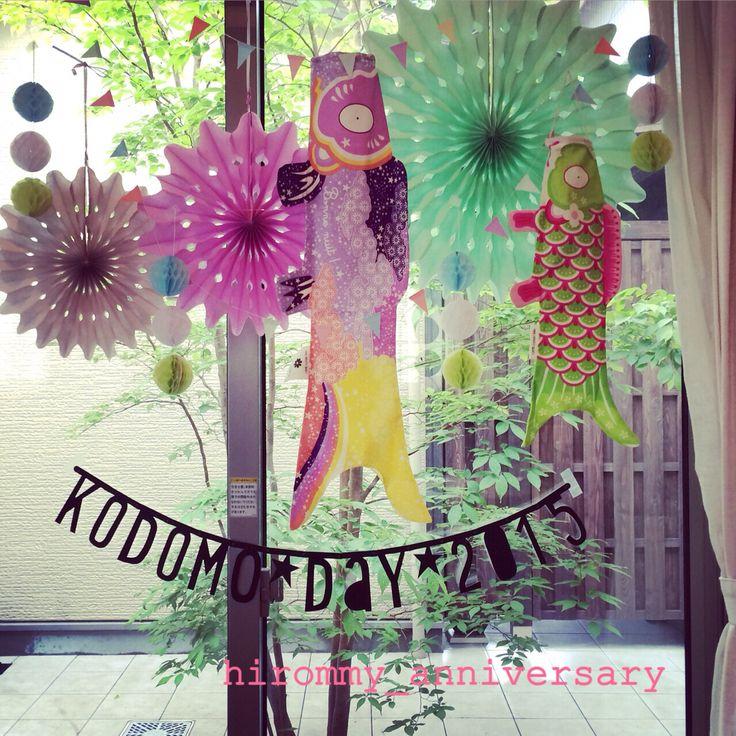 子供の日スタイリング。 マダムモーの鯉のぼりとペーパーファンを使用してのスタイリング。 by hirommy_anniversary https://instagram.com/hirommy_anniversary/