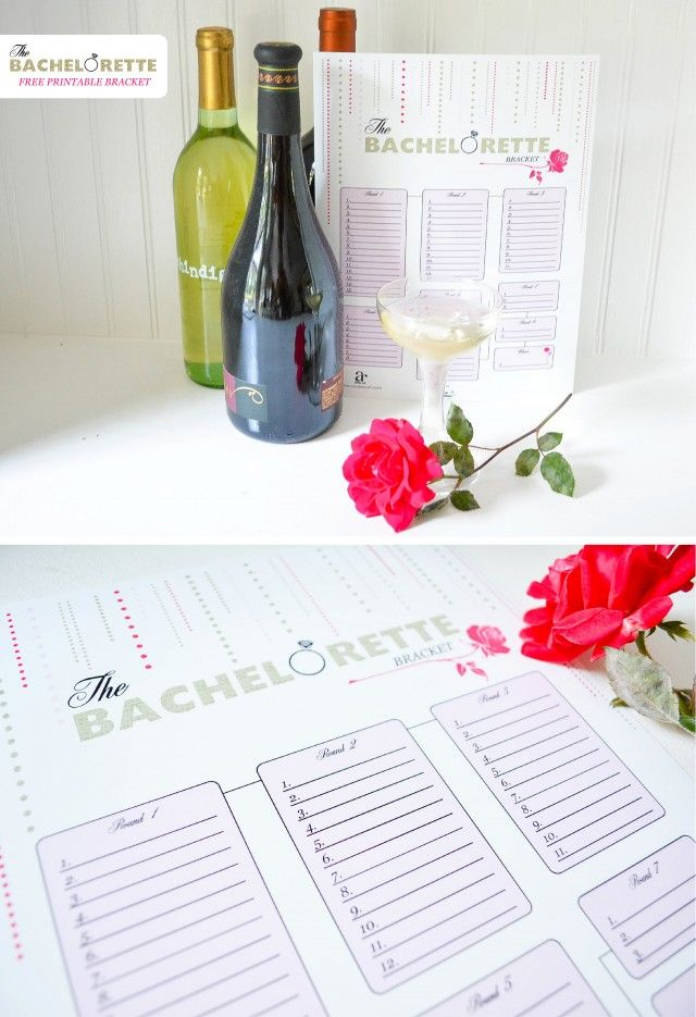 Free Printable Bachelorette Show Bracket Contest for a girls night in! Our jackpot is a set of wine... every girl brings a bottle and the winner at the end gets all the bottles! Stock the bar!