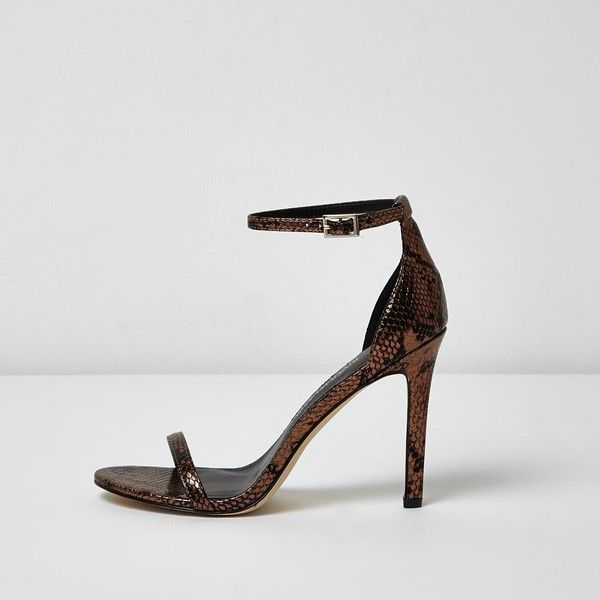 River Island Bronze scale barely there heeled sandals ($24) ❤ liked on Polyvore featuring shoes, sandals, brown, sale, metallic strappy sandals, high heel sandals, high heel shoes, strappy high heel sandals and high heeled footwear