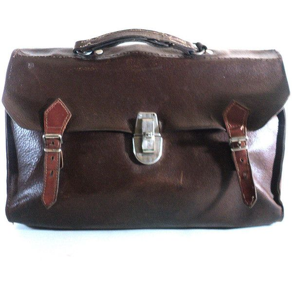 French Leather Schooldbag, Brown Vintage Satchel, 40s Messenger Book... ($52) ❤ liked on Polyvore featuring bags, messenger bags, genuine leather satchel handbags, leather satchel handbags, brown leather messenger bag, vintage leather messenger bag and handbag satchel