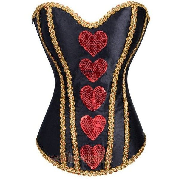 Queen Of Hearts Corset Costume Mini Skirt Steampunk Size S-2XL Outfit... ❤ liked on Polyvore featuring costumes, ladies costumes, queen of hearts halloween costume, womens steampunk costume, womens costumes and steam punk halloween costumes