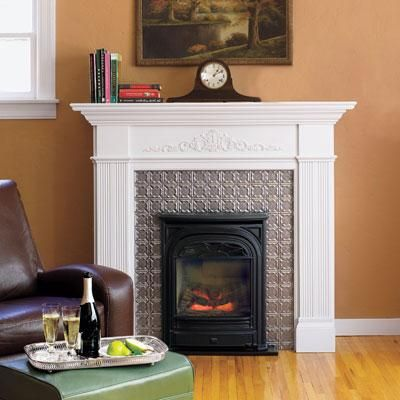 Add personality to your fireplace with a tin-tile surround that's inexpensive and easy-to-install. | Photo: Wendell T. Webber | thisoldhouse.com