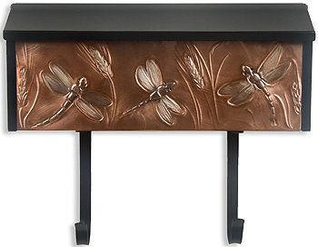 Copper Dragonfly and Wheat Locking Wall Mount Mailbox, Mailboxes, Accessories, Copper