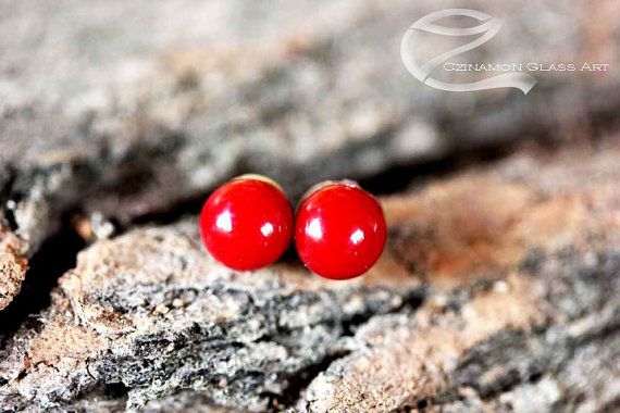 Wine red studs, Tiny stud earrings, Wine Red Fused Glass Stud Earrings, small stud earrings
